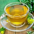 herbal tea in a glass cup with rhodiola rosea on the board — Stock Photo