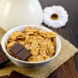 Corn flakes with chocolate — Stock Photo