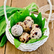 Eggs quail in a white basket with sorrel on the board — Stock Photo