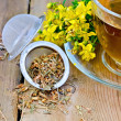Herbal tea from tutsan dry in strainer with cup — Stockfoto