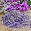 Herbal tea from fireweed dry and fresh — Stock Photo