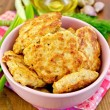 Fritters chicken with spices on board — Stock Photo