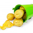 Potatoes yellow in a green bucket with chips — Stock Photo