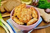 Fritters chicken with bread on the board — Stock Photo