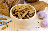 Rye homemade bread with croutons in a bowl — Stock Photo