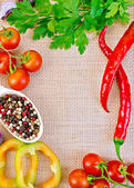 Frame of vegetables and spices on burlap — Stock Photo