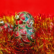 Christmas red balls with tinsel — ストック写真