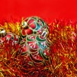 Christmas red balls with tinsel — Zdjęcie stockowe