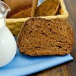 Rye homemade bread with milk on the board — Stock Photo