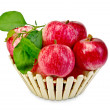 Apples fresh red in wooden basket — Stock Photo #35243599