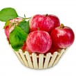 Apples fresh red in wooden basket — Foto Stock #35243599