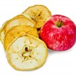 Apple fresh red and slices of dried — Stock Photo #35243687