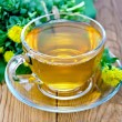 Herbal tea in a cup with a bouquet of Rhodiola rosea on the boar — Stock Photo