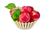 Apples fresh red in a wooden basket — Stock Photo