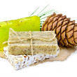 Soap different with cedar cones on paper — Стоковое фото