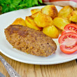 Cutlet meaty with fried potato — Stock Photo