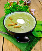 Puree of spinach with croutons on the board — Stock Photo