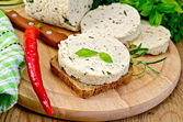 Sandwich with homemade cheese and pepper on the board — Stok fotoğraf