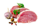 Meat pork slices with spices and garlic — Stock Photo
