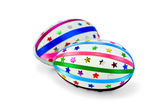 Easter Egg with colored ribbons and sequins — Stockfoto