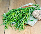 Tarragon with a knife and twine on the board — Stock Photo