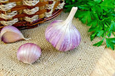 Garlic with burlap and a basket on the board — Stock Photo