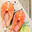 Foto de Stock  : Trout on board with lemon