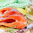 Trout on board with oil and salt — Stockfoto #40953571