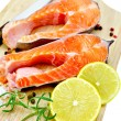 Stock Photo: Trout with lemon and salt