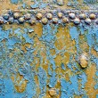 Metal rusty blue with rivets 1 — Stock Photo