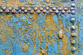 Metal rusty blue with rivets 1 — Stok fotoğraf