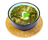 Soup green nettle on a stand — Stock Photo