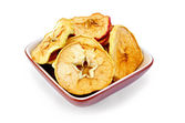 Apple slices of dried in bowl — Stock Photo