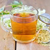 Chá de ervas de meadowsweet seco em caneca com filtro — Fotografia Stock