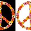 Peace symbol made from flowers — Stock Photo