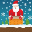 Royalty-Free Stock Vector Image: Santa Claus stuck in chimney, vector illustration