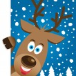 Stock Vector: Christmas card with cute reindeer character