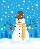 Snowman in winter field — Stock Vector