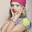 Girl in a pink cap — Stock Photo