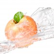 One juicy red apple in water splash isolated on a white backgrou — Stock Photo