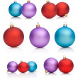 Stock Photo: Set Christmas Baubles: Red, Purple, Blue - Isolated on white bac