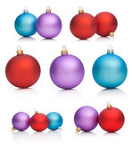 Set Christmas Baubles: Red, Purple, Blue - Isolated on white bac — Stock Photo