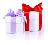 Two White boxs tied with a Red and Purple satin ribbon bow Isola — Stock Photo