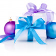 Two White boxs tied with a satin ribbon bow, Purple and blue Chr — Stock Photo