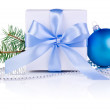Christmas gift with Blue Ball, tree branch, ribbon bow and beads — Photo