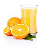 Glass of fresh orange juice Isolated on a white background — Stock Photo