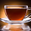 Cup of black tea isolated on a black background — Stock Photo