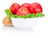Fresh juicy red tomatoes with lettuce in Bowl and Sandwich bun i — Zdjęcie stockowe