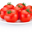 Stock Photo: Juicy red tomatoes white plate isolated on white background