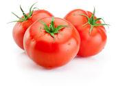 Three Juicy wet tomatoes isolated on white background — Stock Photo